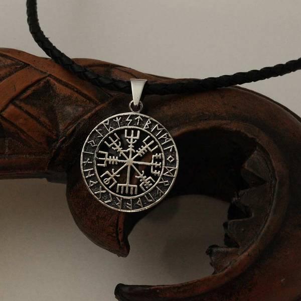 Bilde av Vegvisir i runesirkel - Sølvanheng