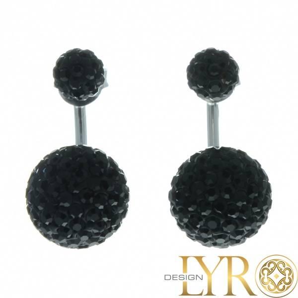 Bilde av Doble Sorte Kuler - Krystall øredobber